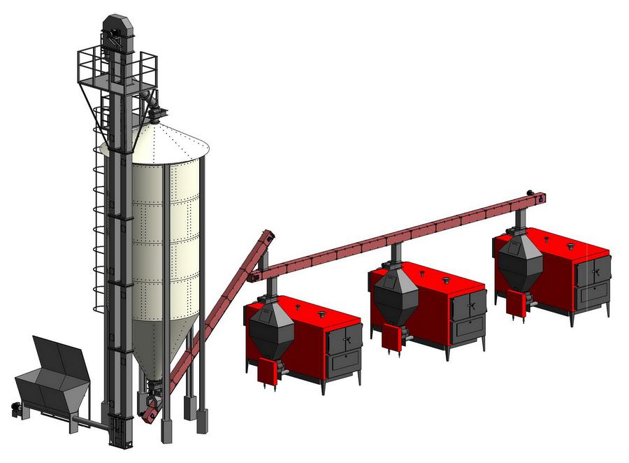 Оборудование топливного хранилища в виде внешнего силоса пеллет, с системой транспортеров для приемки и подачи пеллет к котлам KOZLUSAN PEL
